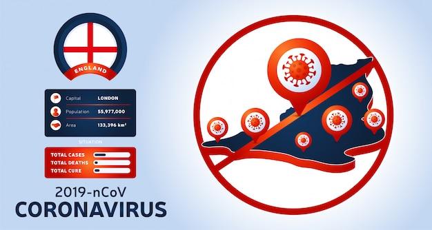 Coronavirus-uitbraak uit wuhan, china. pas op voor nieuwe uitbraken van coronavirus in engeland. verspreiding van de nieuwe coronavirusachtergrond.