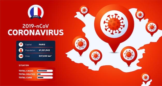 Coronavirus-uitbraak uit wuhan, china. pas op voor nieuwe uitbraken van coronavirus in frankrijk. verspreiding van de nieuwe coronavirusachtergrond.