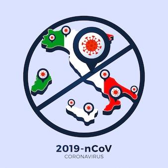 Coronavirus-uitbraak uit wuhan, china. pas op voor nieuwe uitbraken van coronavirus in italië. verspreiding van de nieuwe coronavirusachtergrond.