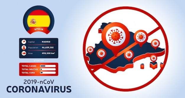 Coronavirus-uitbraak uit wuhan, china. pas op voor nieuwe uitbraken van coronavirus in spanje. verspreiding van de nieuwe coronavirusachtergrond.
