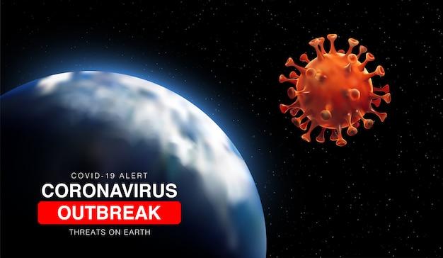 Coronavirus-uitbraken van bedreigingen op aarde met 3d-illustratie van aarde en coronaviruscel.