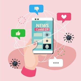 Coronavirus-update op smartphone-illustratie