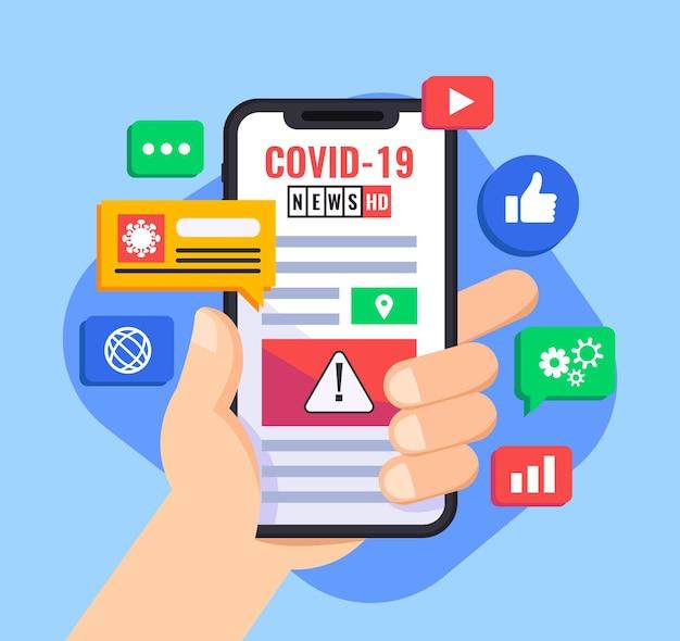 Coronavirus-updateconcept met geïllustreerde smartphone van de houder van de persoon