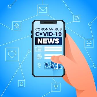 Coronavirus-updateconcept met telefoon
