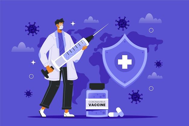Coronavirus vaccin achtergrond met geïllustreerde arts