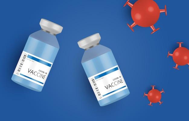 Coronavirus vaccin en spuitinjectiepreventie, immunisatie tegen coronavirus, coronavirus-vaccin vectorachtergrond. vaccinatie tegen covid-19 coronavirus met vaccinfles