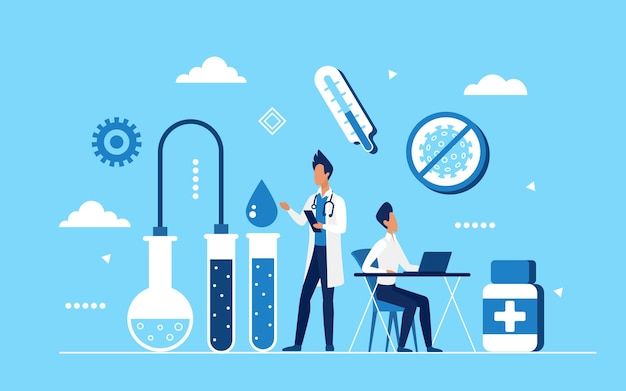 Coronavirus vaccin medicijnontwikkeling, laboratoriumtest covid19 concept