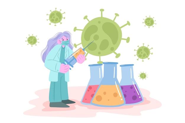 Coronavirus vaccin ontwikkelingsconcept
