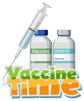 Coronavirus-vaccinatieconcept met banner voor het lettertype van de vaccintijd