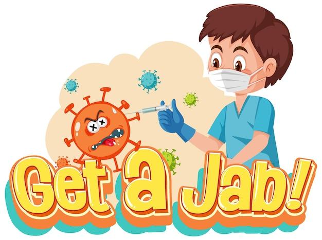 Coronavirus-vaccinatieconcept met jab time-lettertype en stripfiguur van de arts