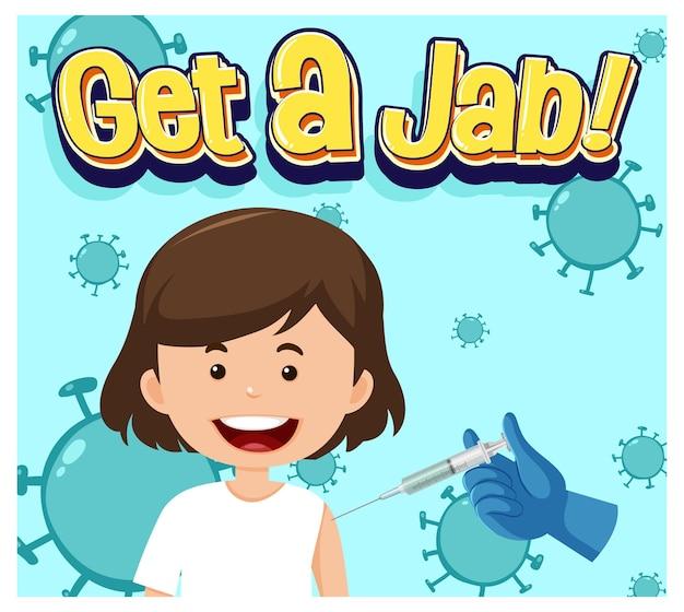 Coronavirus-vaccinatieconcept met jab time-lettertype en stripfiguur