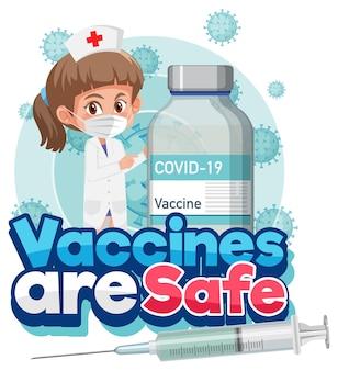 Coronavirus-vaccinatieconcept met stripfiguur en vaccins zijn veilig lettertype