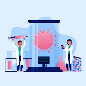 Coronavirus vaccinontwikkeling illustratie