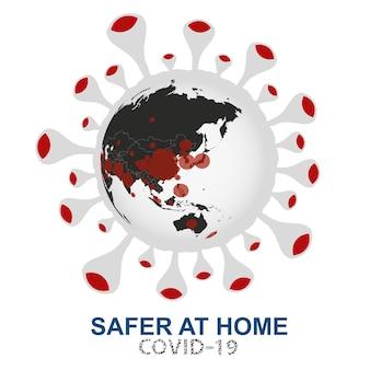 Coronavirus valt de wereld aan, wereldbol met covid-19-viruszicht op azië en oceanië, vectorillustratie.