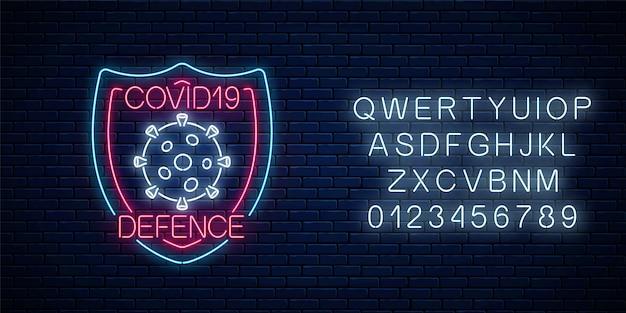Coronavirus verdediging neon teken met alfabet. covid-19 viruswaarschuwingssymbool in neonstijl. 2019-ncov-uitbraakstop