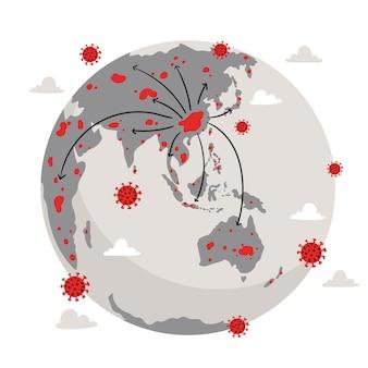 Coronavirus verspreidt zich over de hele wereld een pandemisch concept