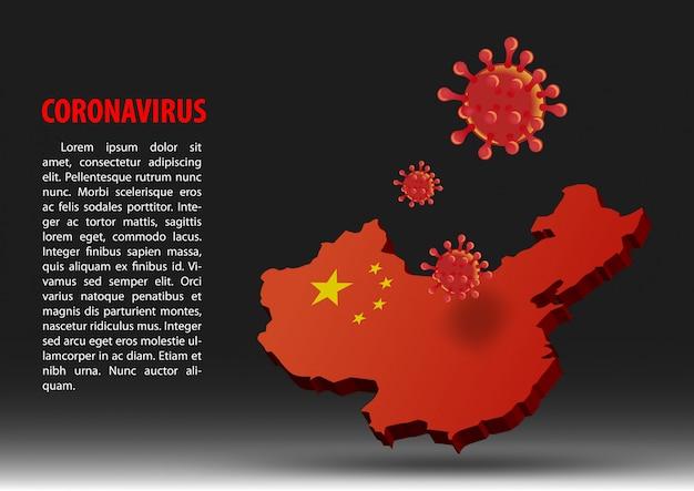 Coronavirus vliegen over de kaart van china
