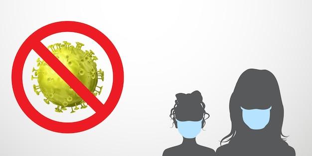 Coronavirus waarschuwing illustratie. verbodsteken - doorgestreept virus en zwarte silhouetten van mensen met lichtblauwe medische maskers
