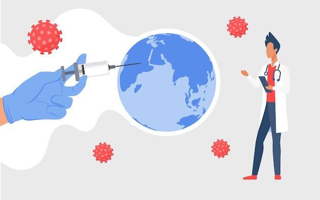 Coronavirus wereldwijde vaccinatie stop virale infectie arts hand met dosis vaccin