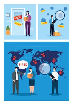 Coronavirus, werkloosheid, werkloos van covid 19, bedrijf gesloten en bedrijf gesloten, scènes mensen werkloosheid met gezichtsmasker illustratieontwerp