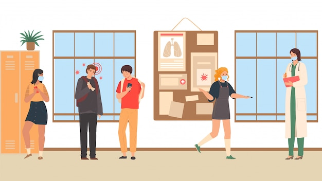Coronavirus ziekte infectie ziekte op student, gevaar voor overdracht van mensen op school, universiteit, universiteit cartoon afbeelding.