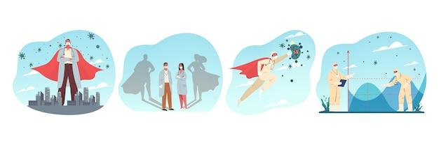 Coronavirusbescherming, gezondheidszorg, medicijnen, sociaal afstandsconcept. verzameling van mannen vrouwen arts verpleegkundige met medisch gezichtsmasker dragen superheld uniform beschermen de samenleving tegen virus illustratie