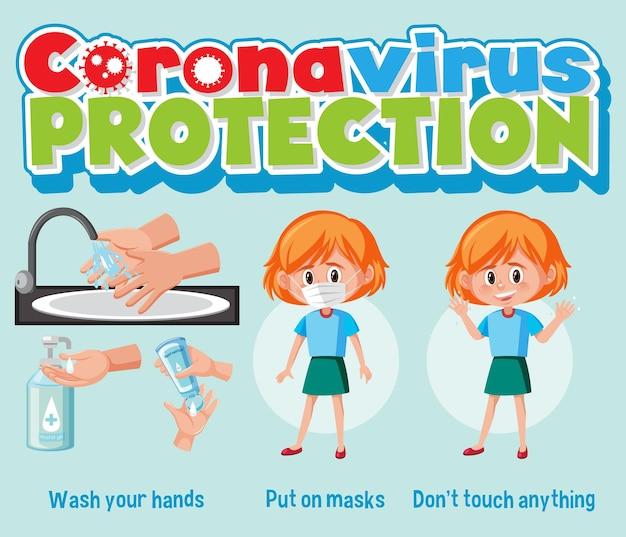 Coronavirusbescherming met covid-19-preventiebanner