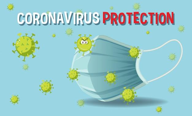 Coronavirusbescherming met masker en coronavirus op donkerblauwe achtergrond