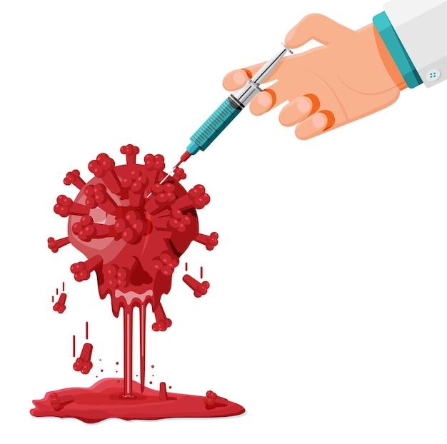 Coronaviruscel met smeltend effect na vaccinatie.