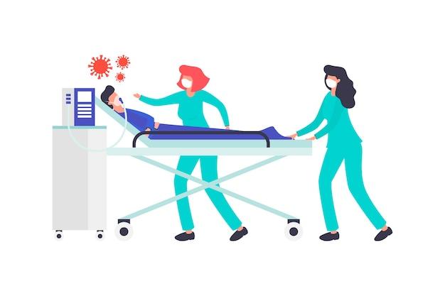 Coronavirusconcept met geïllustreerde patiënt in kritieke toestand