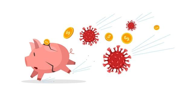 Coronaviruscrisis in de financiële economie met een gekraakt spaarvarken