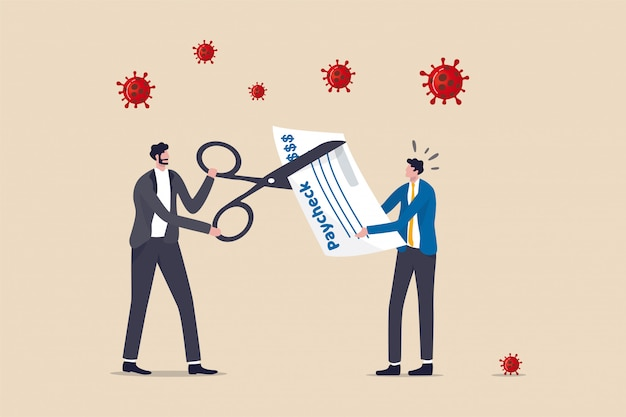 Coronaviruscrisis zorgt ervoor dat het bedrijf de lonen van het personeel verlaagt, het salaris verlaagt om de kosten te drukken, het bedrijf om te overleven bij de ineenstorting van covid-19, de baas van de bedrijfseigenaar die een schaar gebruikt om het salaris van de werknemer te verminderen.