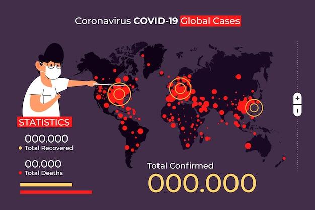 Coronaviruskaart met geïllustreerde details