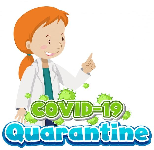 Coronavirusontwerp met vrouwelijke arts en viruscel