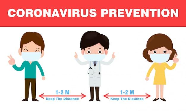 Coronaviruspreventie, sociale afstand, arts en mensen die afstand houden voor infectierisico's en ziekte, met chirurgisch beschermend medisch masker om virus covid-19 te voorkomen. gezondheidszorg concept.