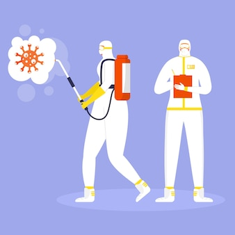 Coronaviruspreventieconcept, mensen in beschermend pak en maskersprays en desinfecteert virus. wereldwijde epidemie of pandemie. covid-19, coronavirusziekte. vector