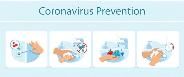 Coronaviruspreventietips zoals het met de hand indrukken van de belknop van de lift met een tandenstoker, geschikte handen en het wassen van fruit.