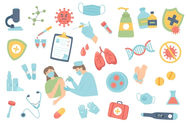 Coronavirusvaccinatie geïsoleerde objecten ingesteld verzameling van doktersinjectie op patiëntenmasker