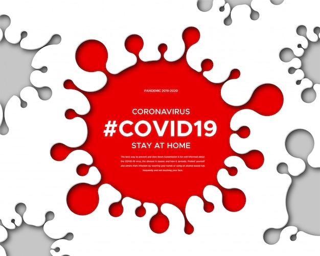 Coronavirusziekte 2019-ncov, informatiebanner over de infectieziekte. papierkunst van silhouet van virus, tekst en hashtag covid19. een wereldwijde pandemie bedreigt de gezondheid van mensen.