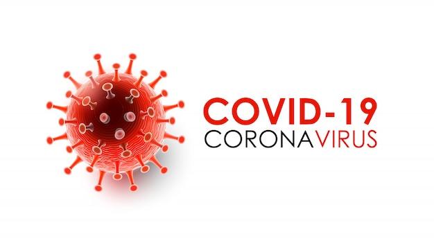 Coronavirusziekte covid-19-infectie medisch met typografie en kopieerruimte. nieuwe officiële naam voor de ziekte van coronavirus genaamd covid-19, pandemische risico achtergrond vectorillustratie