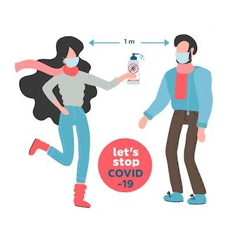 Coronovirus-waarschuwing. man en vrouw op afstand van één meter met flesje ontsmettingsmiddel in handen. preventie concept.