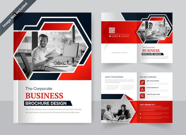 Corporate bi-fold zakelijke brochure ontwerpsjabloon rode en zwarte kleur creatieve en moderne lay-out
