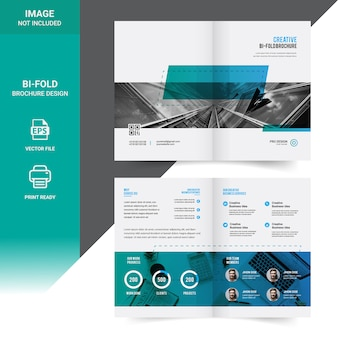Corporate bi-fold zakelijke brochure sjabloonontwerp