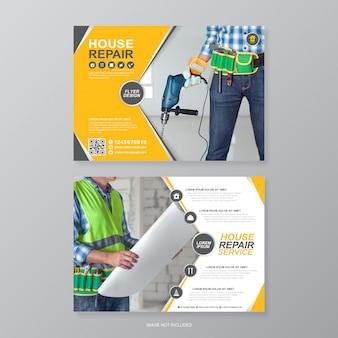Corporate bouwhulpmiddelen omvatten a4 flyer ontwerpsjabloon