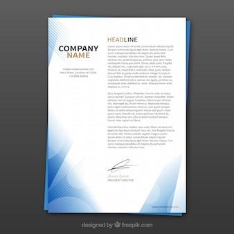 Corporate brochure met abstracte blauwe vormen