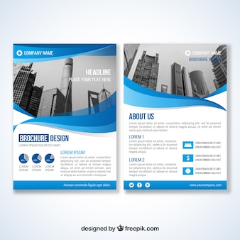 Corporate brochure van blauwe golven