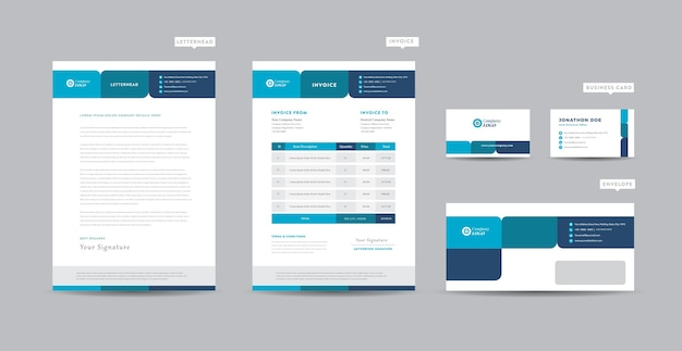 Corporate business branding-identiteit, briefpapierontwerp, documentontwerp