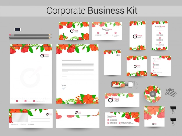 Corporate business kit met bloemen.