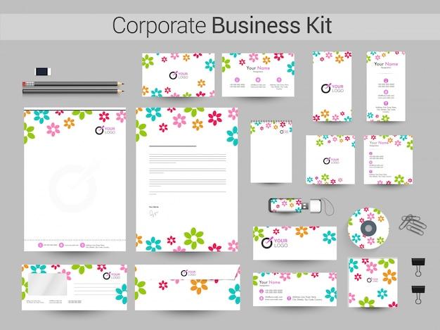 Corporate business kit met kleurrijke bloemen.