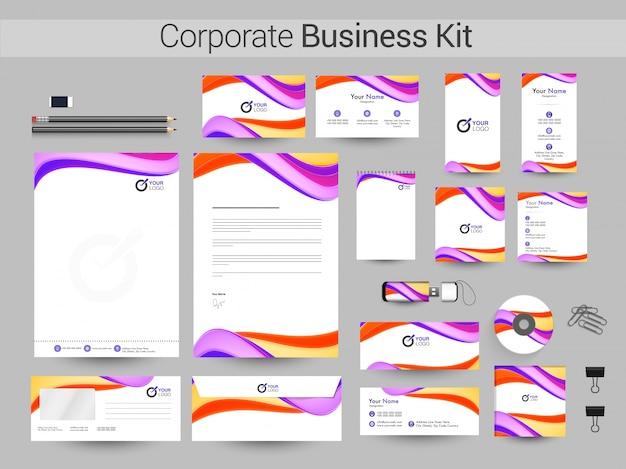 Corporate business kit met kleurrijke golven.